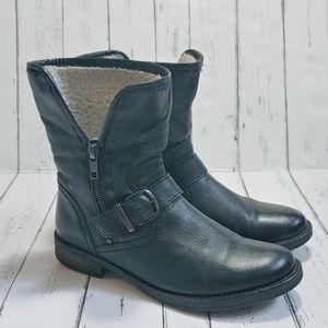 ALDO Black leather faux fur moto booties